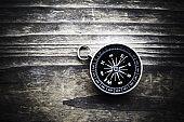 Compass on wood