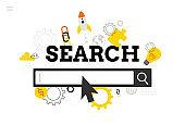 Online search. Modern flat design