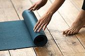 Equipment for fitness, pilates or yoga, blue exercise mat