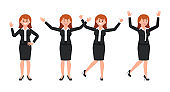 Very happy businesswoman in black suit cartoon character. Vector illustration of smart female clerk in different poses