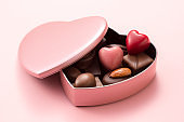 chocolate assortment in heart shaped gift box