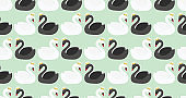 Seamless pattern with cute white and black swans