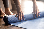 Blue fitness exercise mat, equipment for sport training session