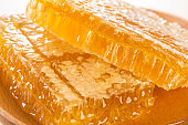 Honeycomb honey, close up