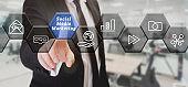 businessman touching social media marketing button on digital screen