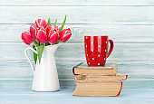 Red tulip flowers bouquet