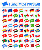 World Flags - Vector Waving Flat Icons - Most Popular