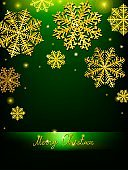 Vector Christmas Calligraphic Design snowflake, with a gold texture