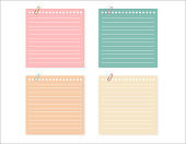 vector set of different color note papers.