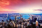 Beautiful Hong Kong skyline at sunset