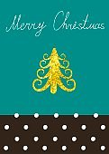 Vector Christmas Calligraphic Design Christmas tree, spruce, with a gold texture