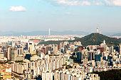 Beautiful view of Namsan tower from the Asan Mountain, Seoul, South Korea.
