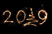 2019 written with Sparkle firework on black background, happy new year 2019 concept