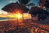Caribbean vacation, beautiful sunrise over tropical beach in Punta Cana, Dominican Republic