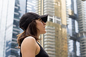 tourist lady at Singapore city street
