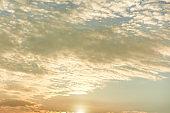 Sunset sky with orange clouds