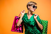 Happy shopping woman with shoping bags