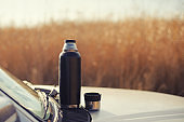 Thermos on the hood of the car; Rest and relax; Autumn landscape