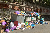 Garbage dump, ecological disaster concept. Waste sorting and recycling