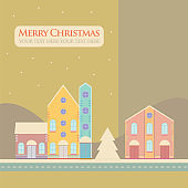 Christmas, New Year greeting card with street view with lovely houses in small town