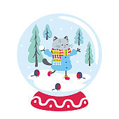 Snow globe with funny cat and winter landscape. Vector illustration isolated on a white background.