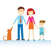 Happy family members parents, their son and a dog