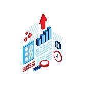 Successful business concept 3d isometric flat design