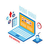 Workplace isometric elements set Successful business concept