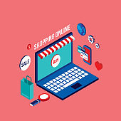 Flat 3d isometric modern design Shopping online Successful business e-commerce concept