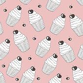 Beautiful yummy cupcake seamless background pattern