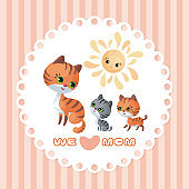 we love mom card with cat
