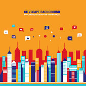 City social network Urban landscape filled with business icons communication concept infographic elements
