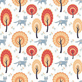 seamless pattern with wolf and trees