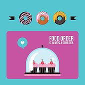 Cupcakes and donuts Colorful banner Delicious sweet dessert