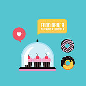 Sweet dessert Delicious cute cupcakes and donuts Fast food banner