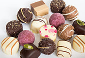 Assortment sweet confectionery chocolate candies and pralines