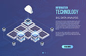 Concept of big data processing, Isometric data center, vector information processing and storage. Creative illustration with abstract geometric elements