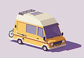 Vector low poly RV camper van