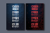Cyber monday background with futuristic user interface. Sale concept with HUD elements