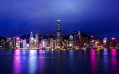 Hong Kong night viewed from Victoria harbor