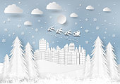 Winter season with snowflake and santa in town. Vector illustration of Merry Christmas