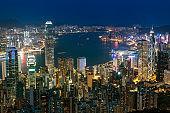 Hong Kong cityscape at night. View from Peak