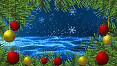 Christmas Tree and ball with snowflake background for christmas holiday season. Vector illustration
