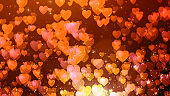 Red color heart shape flow background