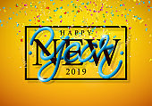 2019 Happy New Year illustration with 3d typography lettering and falling confetti on yellow background. Holiday design for flyer, greeting card, banner, celebration poster, party invitation or calendar.