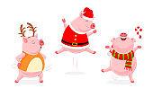 Set of funny cute cartoon pig dancing.