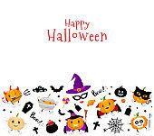 Halloween elements with pumpkin character design.