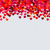 Heart confetti for Valentines day on transparent background.