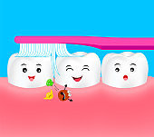 Happy cartoon tooth character with toothbrush.