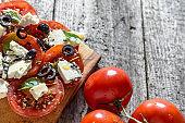 Greek salad, vegetable salads, homemade vegetarian food, healthy dieting concept